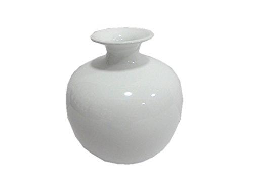 Vase dekorative bauchige Keramikvase Kugelvase in weiß