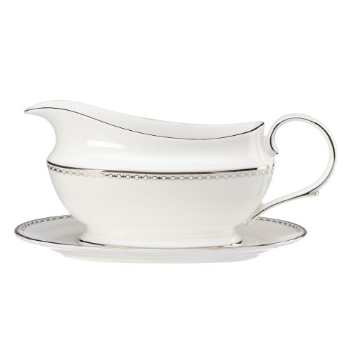Lenox Pearl Platinum Sauce Boat and Stand, White by Lenox Lenox Sauce Boat
