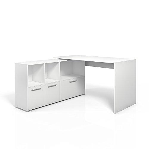 Eckschreibtisch 136 x 75cm Weiß / Eiche Sonoma - Schreibtisch Arbeitstisch Büro Winkelschreibtisch Bürotisch