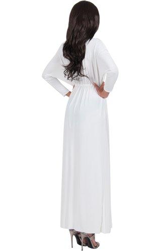 KOH KOH® Femmes Robe Longue À Volants Fendue Manches Longues Multisegment Blanc / Ivoire