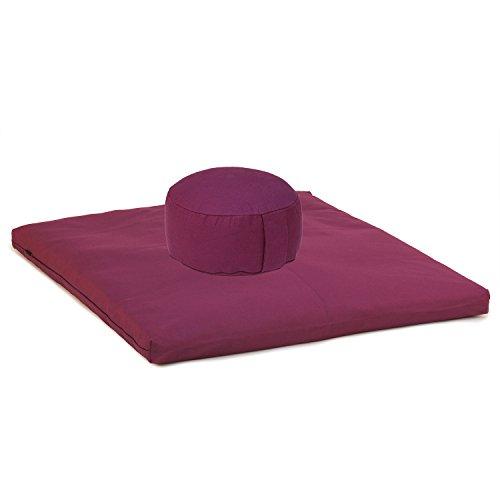 Medi-Set Basic I: Meditationskissen RONDO BASIC (Dinkel) und Meditationsmatte ZABUTON BASIC, aubergine, Meditationsset, Meditationszubehör, Meditationsunterlage 80 x 80cm