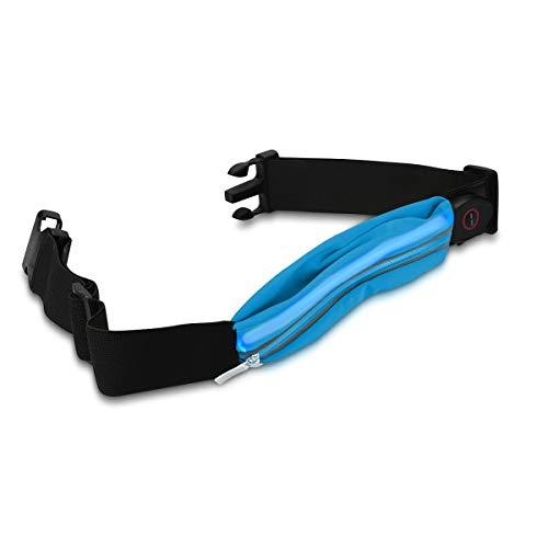 kwmobile LED Laufgürtel mit Tasche - wiederaufladbar mit Micro-USB Kabel - Unigröße - Blinklicht Sport Gürteltasche für Joggen in versch. Farben