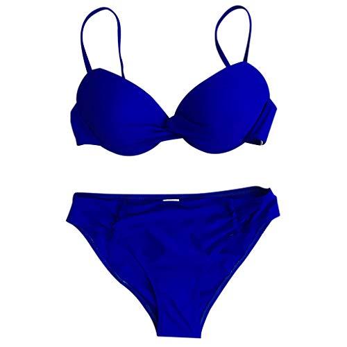 Lazzboy Frauen Badeanzug Push Up Bademode Brasilianischer Bikini Set Halter Retro Strand Badeanzüge Damen Zweiteiliger Neckholder Raffung Oberteil Bügel Metallring Triangel(Blau,XL) Racing Sport Infant Bodysuit
