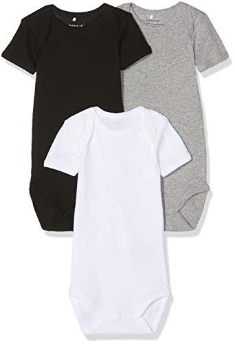 NAME IT Unisex Baby Strampler NBNBODY 3P SS Black NOOS, 3er Pack, Mehrfarbig (Schwarz Black), 80 Black Baby-body