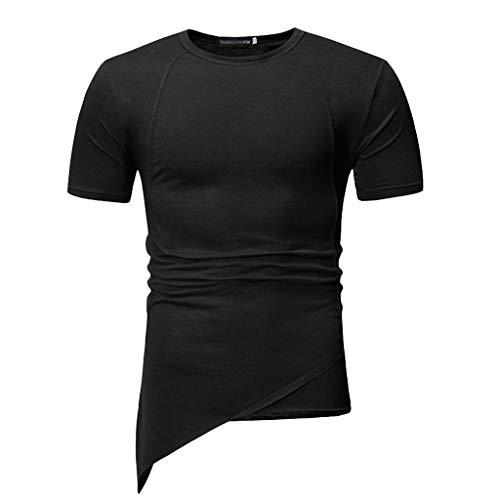 Auied Herren Sommer Normallack Unregelmäßiger O-Ausschnitt Kurzarm Sport T-Shirt Top Bluse