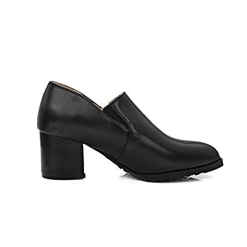 AgooLar Femme Tire Pu Cuir Pointu à Talon Correct Couleur Unie Chaussures Légeres Noir