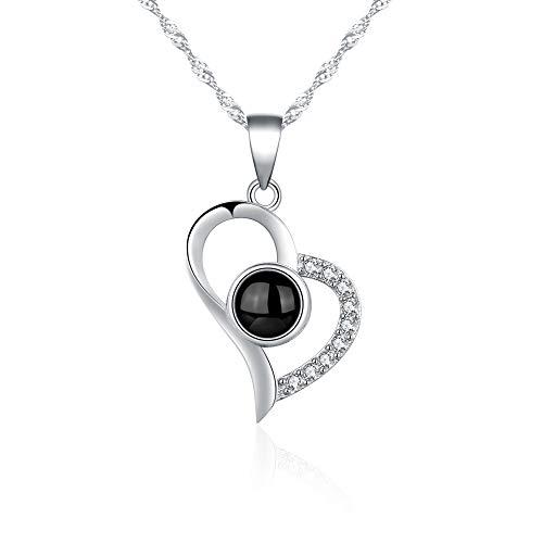 Kette Damen 925 Sterling Silber Halskette Anhänger für Mädchen Frau Liebhaber Geschenk Ich Liebe Dich Halskette 100 Sprachen eingraviert auf Anhänger