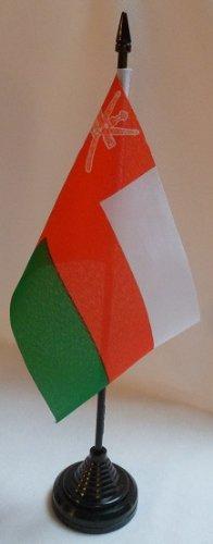 Lot de 12 Oman Rial 10,2 x 15,2 cm Bureau des drapeaux de table avec bâtonnets et bases