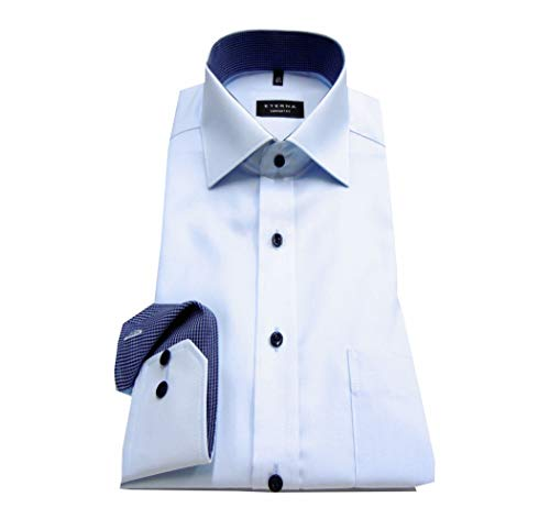 eterna Herren Langarmhemd Business-Hemd Comfort Fit Kent-Kragen Unifarben mit Patch (41, Hellblau F1)