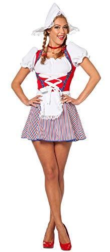 Holland Kostüm Kleid - narrenkiste W4228-46 weiß-rot-blau Damen Holland Kostüm-Kleid Holländerin kurz Gr.46