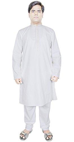 Vestito da modo degli uomini è adatto Kurta pigiama pantaloni etnici abbigliamento indiano Bianco Taglia XL