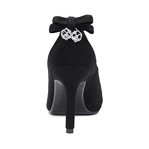 TAOFFEN Damen Elegant Stiletto Pumps High Heel Schuhe Schwarz