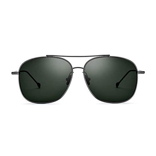 Lxc Ultraleichte Sonnenbrille Aus Reinem Titan, Männliche Fahrer-Schutzbrille, Polarisierte Quadratische Sonnenbrille, Weiblicher Grauer Rahmen, Dunkelgrüne Linse, UV400-Schutz Zeige Temperament