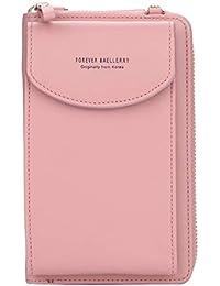 GF- women's bags Cartera for Mujer Embrague de Color sólido en Diagonal con múltiples Funciones, Cierre Mediano, con Bolsillo con Cremallera (Color : Pink)