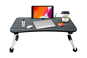 Tormeti Adjustable #Laptop Bed Table, Tray Portable Standing Desk, with Foldable Legs, Sofa Breakfast Notebook Stand Reading Holder for Couch Floor (Black.)