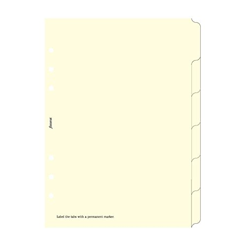 Filofax A5 Blank Index Cream 6 Tabs