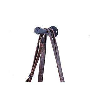 Taschenhalter 16 cm - sehr stabil aus Metall - schwarz pulverbeschichtet - Handtaschenhalter oder Hundeleine - Wandbefestigung im Industrial Design