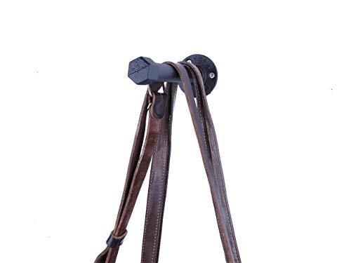 Taschenhalter 16 cm | sehr stabil | Schwarz Metall | Handtasche, Hundeleine oder Hut | Industrial Design | Wandbefestigung -