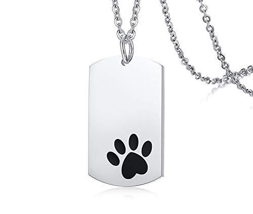 PJ JEWELLERY Personalisierte Ihr geliebtes Haustier Edelstahl poliert Hund Haustier Paw Print Dog Tag Anhänger Halskette mit 24