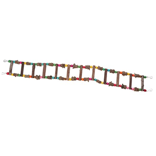 Homyl Holzleiter Hängender Leiter Hängebrücke Schaukel für Vögel, Papageien, Nymphensittiche, Wellensittiche, Hamster, Rennmäuse, Mäuse, Ratten, usw. - 100 cm