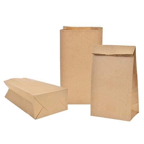 X-Mile 100 Kraft marrón bolsas de papel con base 9 x 16.5 x 5 cm Bolsa de La Compra Kraft Bolsa Alimentos de Papel para Envolver pan Galletas y Dulces de Panadería