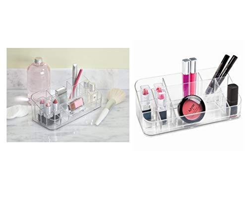 iDesign Make-up Organizer mit 14 Fächern, mittelgroße Kosmetik Aufbewahrung aus Kunststoff; Kosmetik Organizer für Bad und Schminktisch, durchsichtig (Acryl Schrank Organizer)