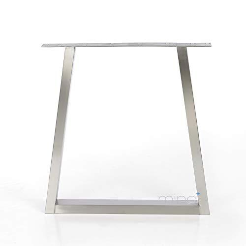 Tischgestell Trapez-Form modern I 80 x 40 mm Profil I hochwertiger Edelstahl gebürstet I 72 cm hoch I Indoor & Outdoor I Untergestell für Ess-, Schreib-, Gartentisch etc. I 1 Stück