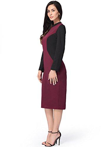 Frauen elegantes schickes langes Hülsen-Mannschaft-Ansatz-Büro-Bleistift-Kleid Rot