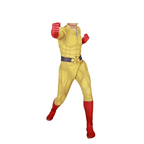 POIUYT Anime Film Spiel Punch Superman Cosplay Einteilige Strumpfhosen Kostüm One Piece Halloween Korsett Kind Erwachsene Halloween Thema Party Requisiten,YellowAdult-S