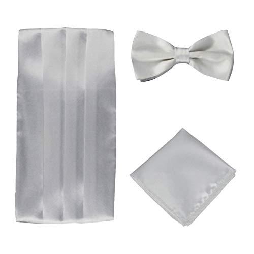 Panegy Herren Fliege Kummerbund Einstecktuch Set Unifarben Fliegen für Hochzeit Bowtie Party Men Bow Tie Cummerbund Set - Weiß Weiß Bow Tie Set