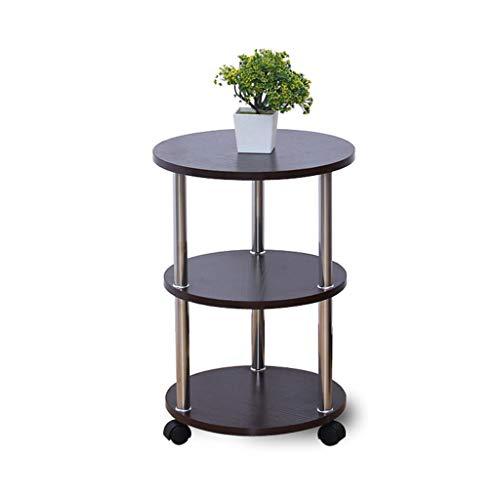Seite Tee-tabelle (KangJZ-Tables KJzhu Bewegliche Tabelle, runde DREI Fußböden Tee-Tabelle Sofa-Seiten-Bett-Wohnzimmer-Multifunktionsholz-Freizeit-Tabelle Groß (Color : A))