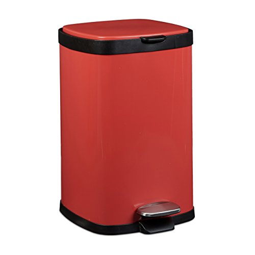 Relaxdays Treteimer 12 L, Metall, groß, eckig, Absenkautomatik, für Küche und Bad, HxD: 40 x 26 cm, Abfalleimer, rot