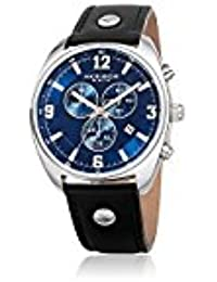 Akribos XXIV Men's Quartz Stainless Steel and Leather Casual Watch, Color Black (Model: AK969BKBU)