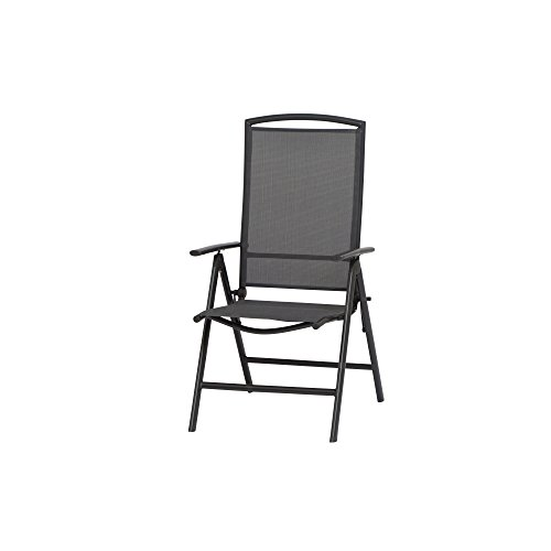 Kunststoff Grau Klappsessel (Siena Garden Klappsessel Atlanta, 67x58x110cm, Gestell: Aluminium, in anthrazit, Fläche: Ranotex-Gewebe in grau)