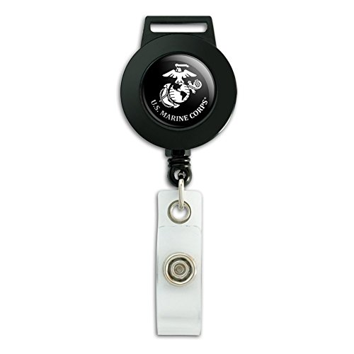 US Marine Corps USMC Weiß Logo auf schwarz Offizielles Lizenzprodukt Lanyard Retractable Reel Badge ID Kartenhalter (Us-marines Lanyard)