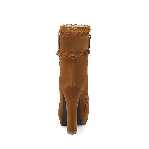 AgooLar Damen Reißverschluss Hoher Absatz Rein Naht Niedrig Spitze Stiefel Kamel Farbe