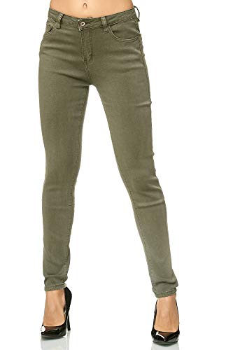 Elara Damen Stretch Hose | Skinny Röhrenjeans | Elastischer Bund | Slim Fit | Chunkyrayan G09-5 Olive 36 -