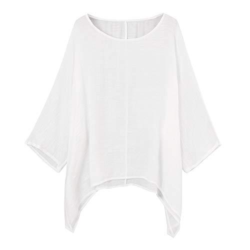 Damen Casual Plus Größe Lose Baumwolle Leinen Volltonfarbe Tops Shirt Bluse MYMYG Frau Pullover Langarmshirt Sweatshirt (Weiß,EU:44/CN-3XL)