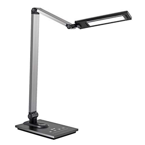 imiGY Led-schreibtischlampe, 9W Led Schreibtischlampe Dimmbar mit Touch-Control und USB-Anschluss, 3 Farbtemperaturen und Stufenlose Dimmbare Helligkeit