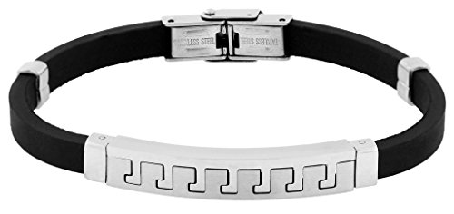 The Jewelbox Stainless Steel Rubber Matt Finish Bracelet For Men Valentine Gift Boyfriend Husband