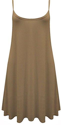 Funky Boutique Jupe Patineus'à bretelles pour femme Mini robe Cami Débardeur Swing : 8-26 Marron - Moka