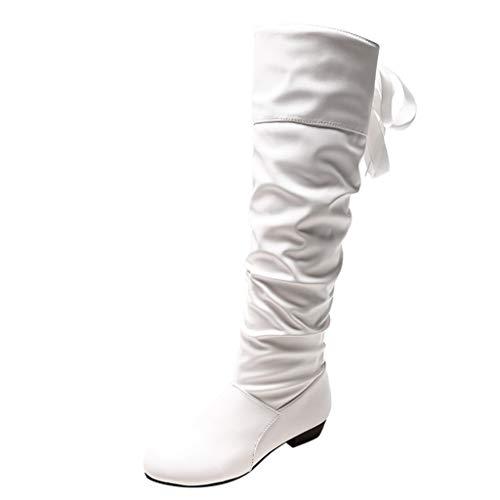 Weiße Knie Hohe Stiefel - Damen Knie-hohe Stiefel Warme Kniestiefel mit