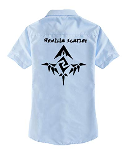 Cosstars Touhou Project Anime T-Shirt Cosplay Kostüm Kurzarm Tee Top Bluse Blau 2 (Marisa Kirisame Cosplay Kostüm)