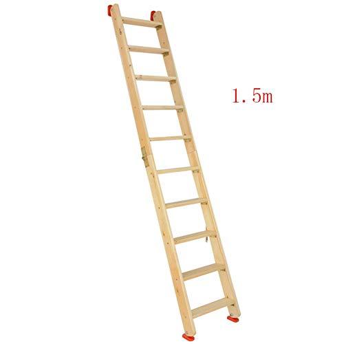 LNDDP Escalera Multifunción para el hogar Espesar Escalera Espiga Seguridad portátil Plegable Madera Maciza, 8 tamaños (Color: Color Madera, Tamaño: Longitud Completa 1.5m)