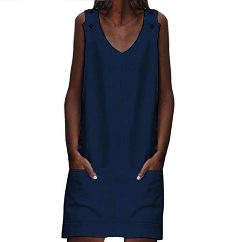 XNBZW Frauen Minikleid Sommer Lässige Baumwolle Leinen V-Ausschnitt Tasche Ärmellose Einfarbig Strandhemd Kleid Grün XL