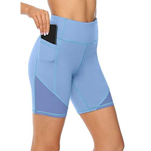Damen Doppeltaschen Sport Leggings 3/4 Yogahosen Sporthosen Laufhosen Training Tights mit Handytasche Yoga Leggings FitnessHosen mit Taschen (Champion Tights)