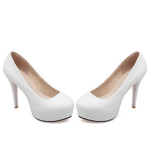 AllhqFashion Femme Couleur Unie Tire Rond à Talon Haut Pu Cuir Chaussures Légeres Blanc