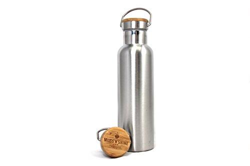 MUGS'N'SHINE - Thermoskanne 600 ml   Hochwertige Thermoflasche aus Edelstahl   doppelwandig, leicht und kompakt   deine Isolierflasche für unterwegs! (600, gebürstet)
