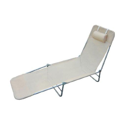 Homcom Chaise Longue Pliante Bain de Soleil inclinable transat textilene lit Jardin Plage Creme