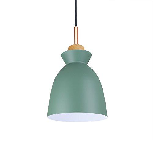 Suspension luminaire moderne design cloche D20*H27cm bois abat jour en metal vert - lustre moderne pour cuisine salle à manger chambre couloir couleur verte